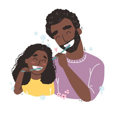 Vector illustration of father and Daughter Brushing Their Teeth. happy Black african american family and health.