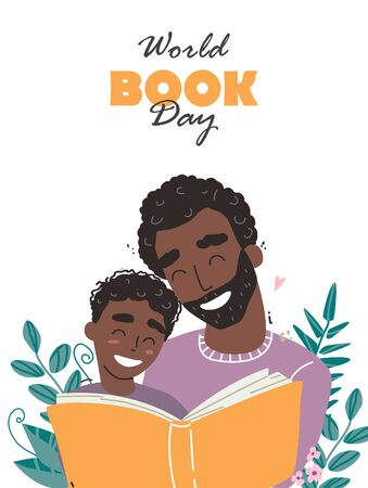 Father reading a book to his son. Happy loving family and Fathers Day. World book day. Vector illustration of family concept