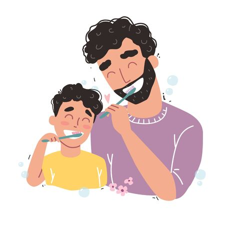Vector illustration of Father and son Brushing Their Teeth. happy family and health.