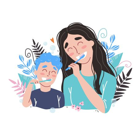 Vector illustration of mother and son Brushing Their Teeth. happy family and health. Illustration