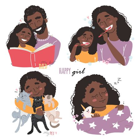 Bundle of happy loving black african american family scenes. Mother and father educating and teaching their kid. Flat vector illustration. Illustration