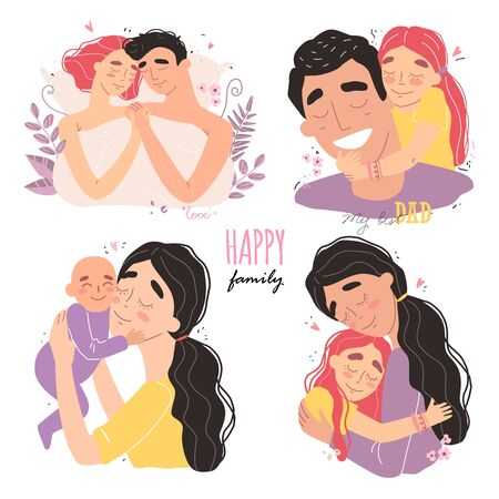 set clip art of a happy smiling families isolated on white background. Happy chidhood concept.