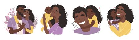 set clip art of a happy smiling black african american families isolated on white background. Happy chidhood concept.