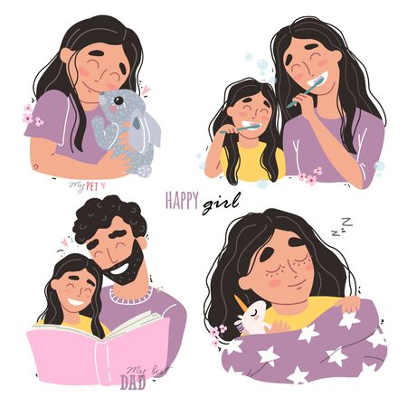 Bundle of happy loving family scenes. Mother and father educating and teaching their kid. Flat vector illustration.