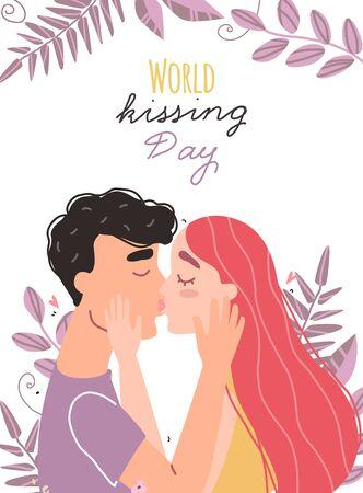 Romantic couple in love kissing. World kissing Day. Vector illustration Illustration