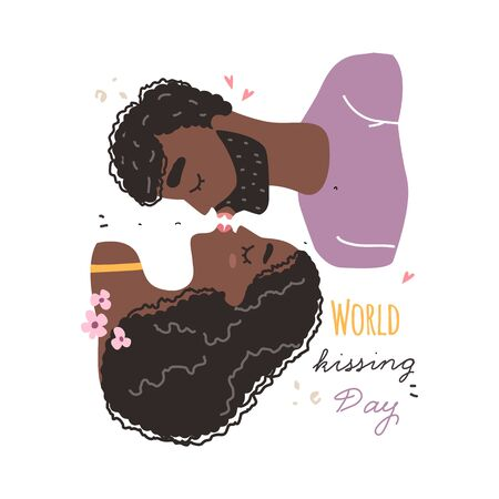 Romantic black african american couple in love kissing. World kissing Day. Vector illustration