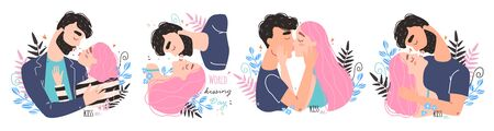 Romantic couple in love kissing. World kissing Day. Vector illustration Illustration