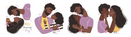 Romantic black african american couple in love kissing. World kissing Day. Vector illustration Illustration