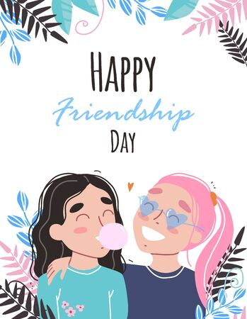 Happy friendship day. Happy friends holding each other. Portrait of smiling girls. Flat cartoon vector illustration.