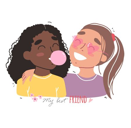 Portrait of smiling girls. Happy friends holding each other. Happy friendship day.