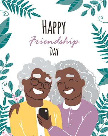 Portrait of smiling Black african american old womens. Happy friends holding each other. Happy friendship day. Old people with smartphone Illustration