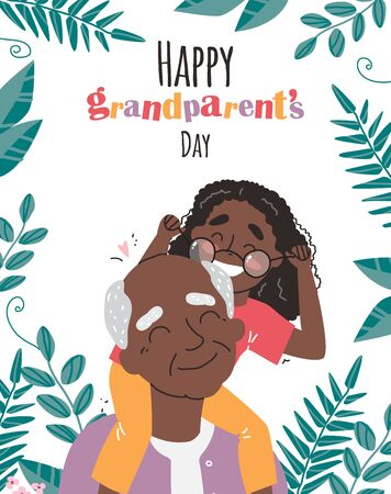 an elderly man is having fun with his granddaughter Illustration