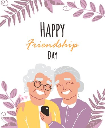 Portrait of smiling old womens. Happy friends holding each other. Happy friendship day. Old people with smartphone Illustration