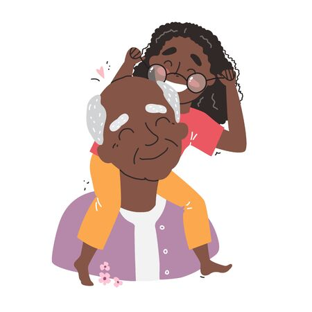 an elderly black african american man is having fun with his granddaughter. happy grandparents day Illustration