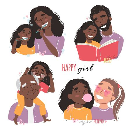 Family and childhood concept. black african american parents hug a child. girl with best friends. an elderly man is having fun with his granddaughter