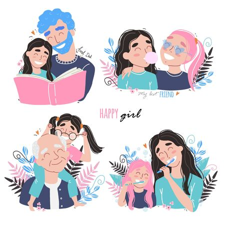 Family and childhood concept. parents hug a child. girl with best friends. an elderly man is having fun with his granddaughter Illustration