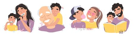 Family and childhood concept. parents hug a child. boy with best friends. an elderly man is having fun with his grandson Illustration