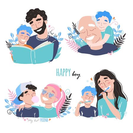 Family and childhood concept. parents hug a child. boy with best friends. an elderly man is having fun with his grandson. vector illustration
