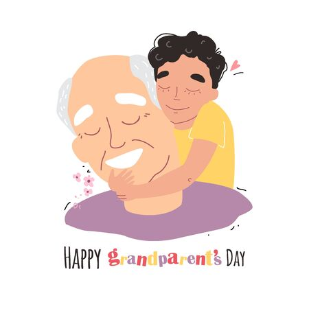an elderly man is having fun with his grandson. happy grandparents day