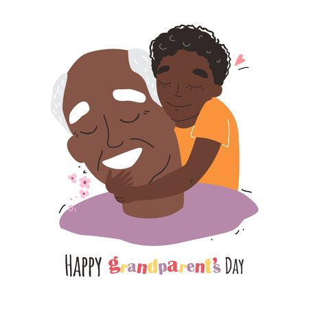an elderly black african american man is having fun with his grandson. happy grandparents day Illustration