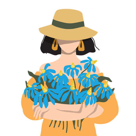 Portrait of a woman with a bouquet of summer flowers. Lovely tanned girl in a straw hat Illustration