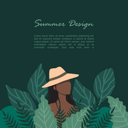 A woman in a straw hat stands in a thicket of tall grass Illustration