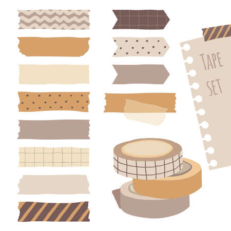Set of cute colorful hand drawn masking tape, blank tags label stickers with patterns in pastel color as design elements for decoration.