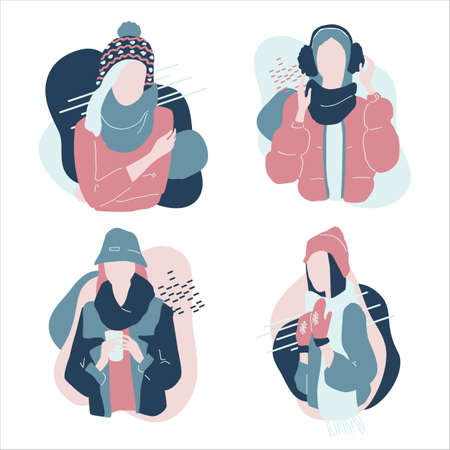 Cute cartoon illustration of beautiful teenage girls in winter fashion clothes. Set of characters in warm winter clothes. Faceless characters. Vector.
