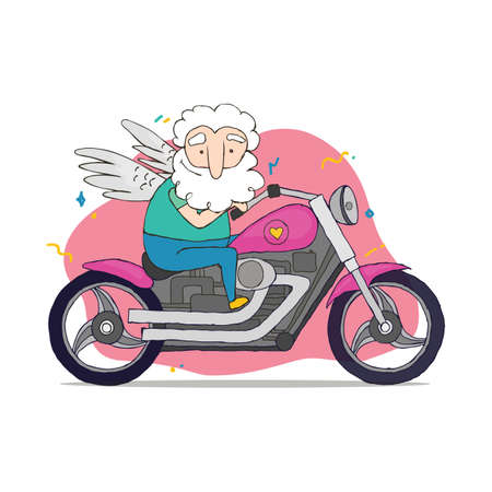 Vector valentine card with Cupid. Illustration of a Valentines Day. Cupid rides on a cool motorcycle.