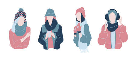 Cute cartoon illustration of beautiful teenage girls in winter fashion clothes. Set of characters in warm winter clothes. Faceless characters.