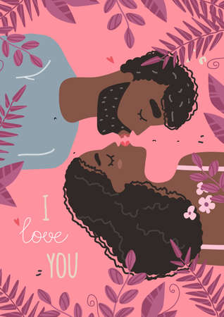 Vector valentine card with cute characters. Lovers black african american man and woman hug. 免版税图像 - 161702511