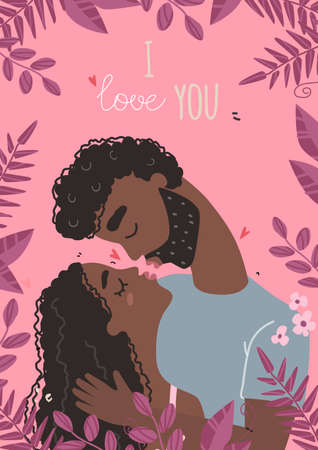 Vector valentine card with cute characters. Lovers black african american man and woman hug.