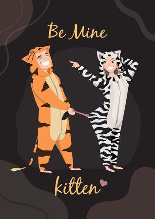 Valentine card. Guy with girl at home pajamas fun. Pajama party. Be mine kitten 矢量图像