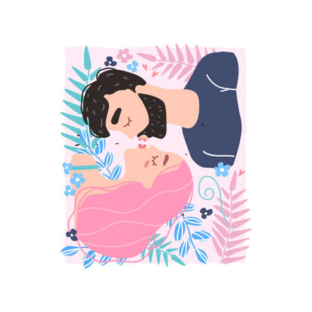 Vector valentine card with cute characters. Romantic couple in love kissing. World kissing Day. Clipart of love.