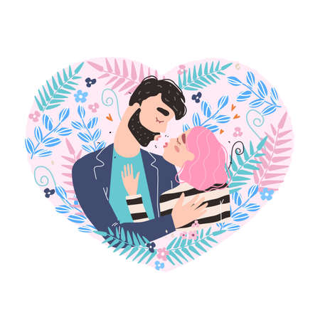 Vector valentine card with cute characters. Romantic couple in love kissing. World kissing Day. Clipart of love. 免版税图像 - 162941445