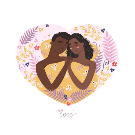 Vector valentine card with cute characters. Lovers man and black african american woman hug lying in bed . Happy family concept.
