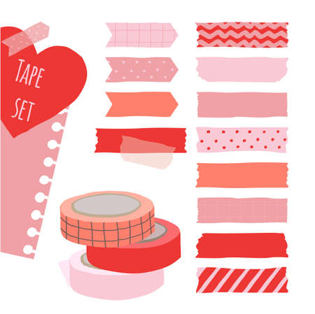 Set of cute colorful hand drawn masking tape, blank tags label stickers with patterns in red and pink colors as design elements for decoration valentine card.