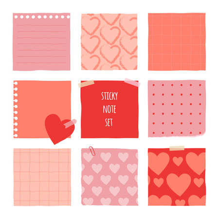 Collection of various notes paper for valentine card. Red and pink sticky note. 矢量图像
