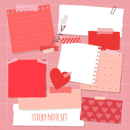 Collection of various notes paper for valentine card. Red and pink sticky note. 免版税图像 - 162194424