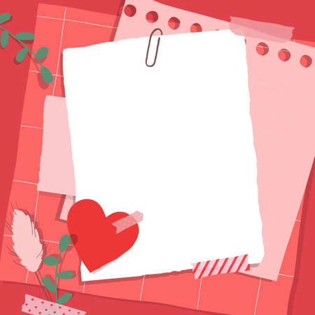 Scrapbook composition with notes paper, tapes, flowers elements and heart sticker. Page for valentine greeting card.