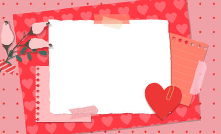 Scrapbook composition with notes paper, tapes, flowers elements and heart sticker. Page for valentine greeting card. Banner with place for text 矢量图像