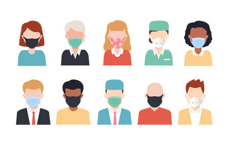 People in protective medical face masks. White, Blue, Green Medical or Surgical Face Mask. Virus Protection.