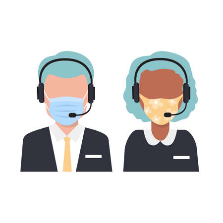 Call Center Operator wearing medical masks. Vector Flat Illustration