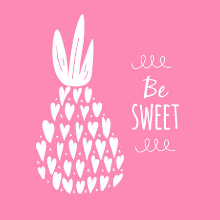 Valentine card Be Sweet. Pineapple silhouette icon. Vector illustration 矢量图像