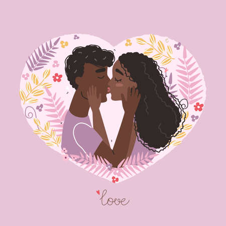 Black couple in love clipart. Vector valentine card with cute characters.