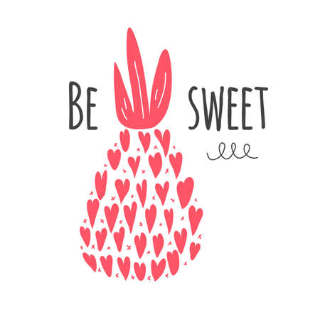 Valentine card Be Sweet. Pineapple silhouette icon. Vector illustration 免版税图像 - 163027039