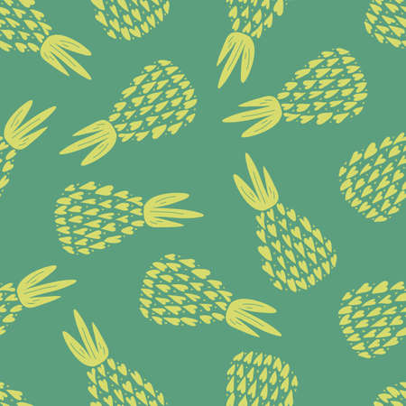 Pineapples seamless pattern. Summer spring background, nature collection.