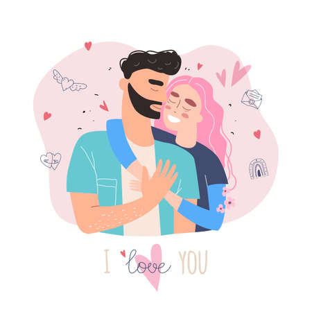 Cute couple in love clipart. Happy family concept. Lovers man and woman in a relationship in love. Vector Valentine card 免版税图像 - 163027036