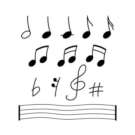 Music notes, song, melody or tune. Isolated flat vector icon on white backgraund