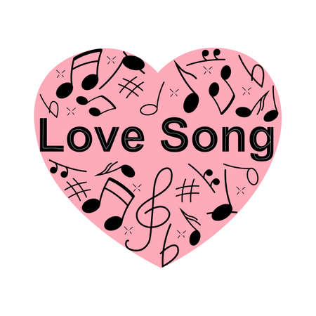 Image illustration of heart-shaped staff and musical notes. Love song. Musical heart background 矢量图像